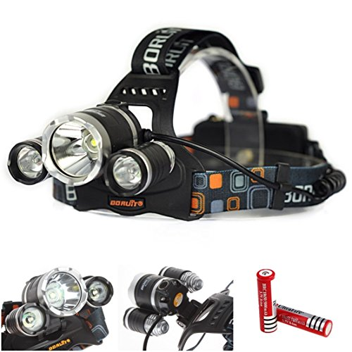 Excelling Popular 4 Modes 3x LED 5000 Lumen Headlamp Headlight Waterproof Tactical Color Black with Battery (Xm Radio Stations For Halloween)