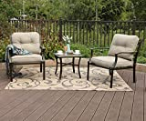PHI VILLA 3 PC Patio Padded Conversation Set, 2 Cushioned Chairs & 1 Side Table (3 PC Set) Review