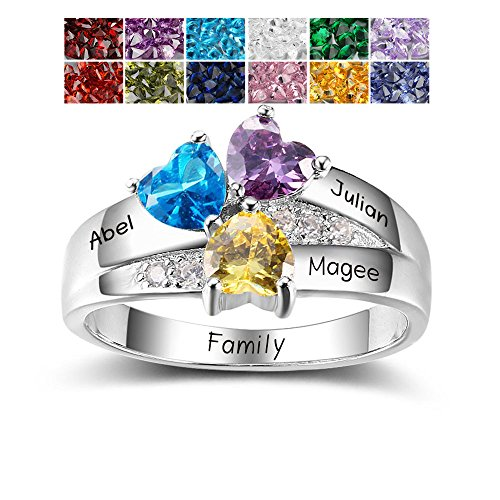 Lam Hub Fong Personalized 3 Birthstone Rings Sterling Silver Mothers Ring Customized Daughter Rings with Engrave Name for Family Children Kid Friendship Rings