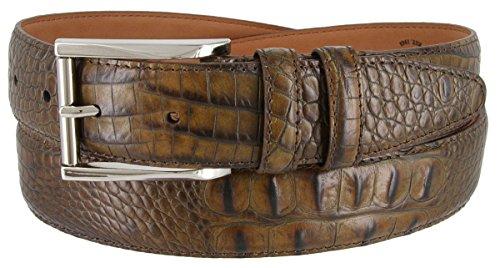 Brown Calfskin Belt (Lejon 2053 Alligator Italian Calfskin Belt for Men 1-3/8
