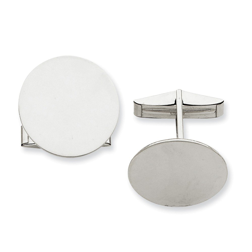 14K White Gold Circular Cuff Links