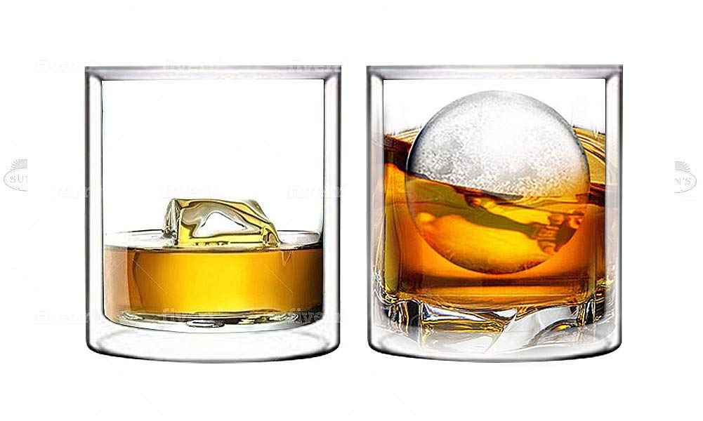 Double Wall Whiskey/Scotch Rocks Glass Set by Sun's Tea | 5.5oz | Old Fashioned Drinking & Cocktail Glasses | Clear Insulated Tumbler - Set of 2
