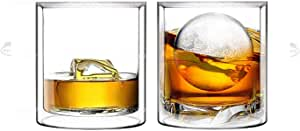Double Wall Whiskey/Scotch Rocks Glass Set by Sun's Tea️   5.5oz   Old Fashioned Drinking & Cocktail Glasses   Clear Insulated Tumbler - Set of 2