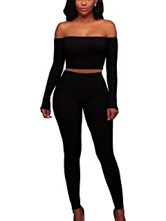 279383a88f77 MISFONDLE Women s Sexy 2 Piece Bodycon Off Shoulder Long Sleeve Ribbed  Skinny Jumpsuit