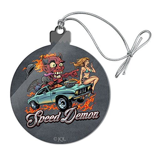Graphics and More Speed Demon Flaming Hot Rod Acrylic Christmas Tree Holiday Ornament