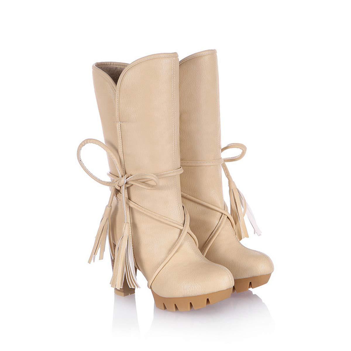 C 37EU DANDANJIE femmes Mid-Veau Bottes Chunky Heel Lacet-up Bottes Gland Talons Hauts Chaussures (3 Couleurs)