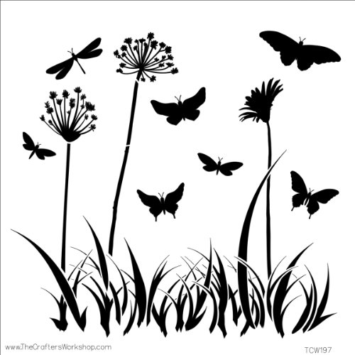 Crafters Workshop 474730 Template, 12 by 12-Inch, Butterfly Meadow by CRAFTERS WORKSHOP