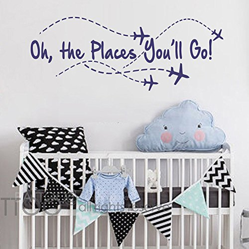 (BATTOO Airplane Wall Decal - Oh the places you'll go - Nursery Wall Decal Quote - Airplane - Pilot Wall Decal - Boy Wall Sticker Girl Decor(navy blue, 22