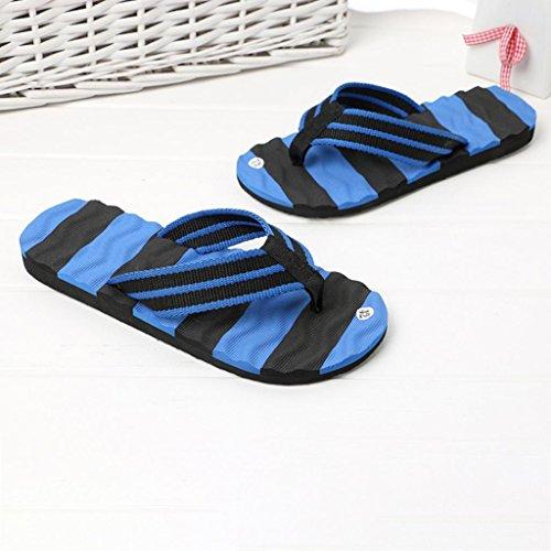 QinMM Homme Tongs Pantoufle Colorblock Rayures Massage des Pieds, Été Sandales Intérieur Plein Air Plage Chaussures Flip-Flops Chaussons Bleu