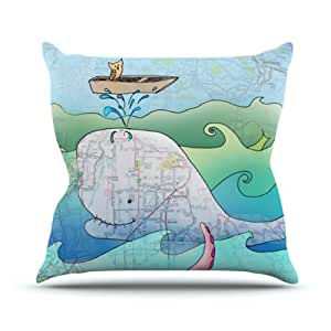 "Kess InHouse Catherine Holcombe ""I'm on a Boat"" Outdoor Throw Pillow, 18 by 18-Inch"