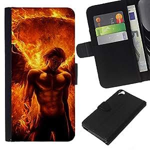 KLONGSHOP // Tirón de la caja Cartera de cuero con ranuras para tarjetas - Devil Man Abs Fuego Power Flame - HTC Desire 820 //