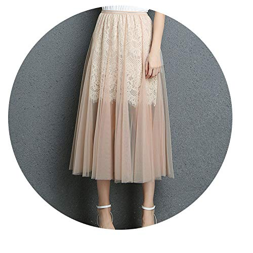 Skirt newdress high Waist Gold Side Long Lace Bag Hip mesh Half Skirt,Apricot,One - Womens Covington Skirt
