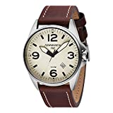 Torgoen T10 Cream Pilot Watch | 44mm - Brown Leather Strap