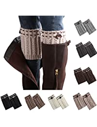 7 Pack Women Short Leg Warmers Crochet Knit Button Boot Socks Topper Cuffs,Multicolored,One Size