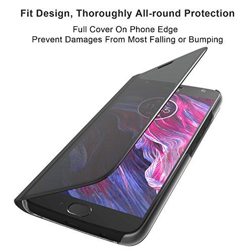best loved dd329 d91ef Lenovo Moto X4 Flip Case, Touch Flip Cover Transparent Shell Shock  Resistant and Edge Protective Folio Flip Case for Motorola Moto X4 (Black)