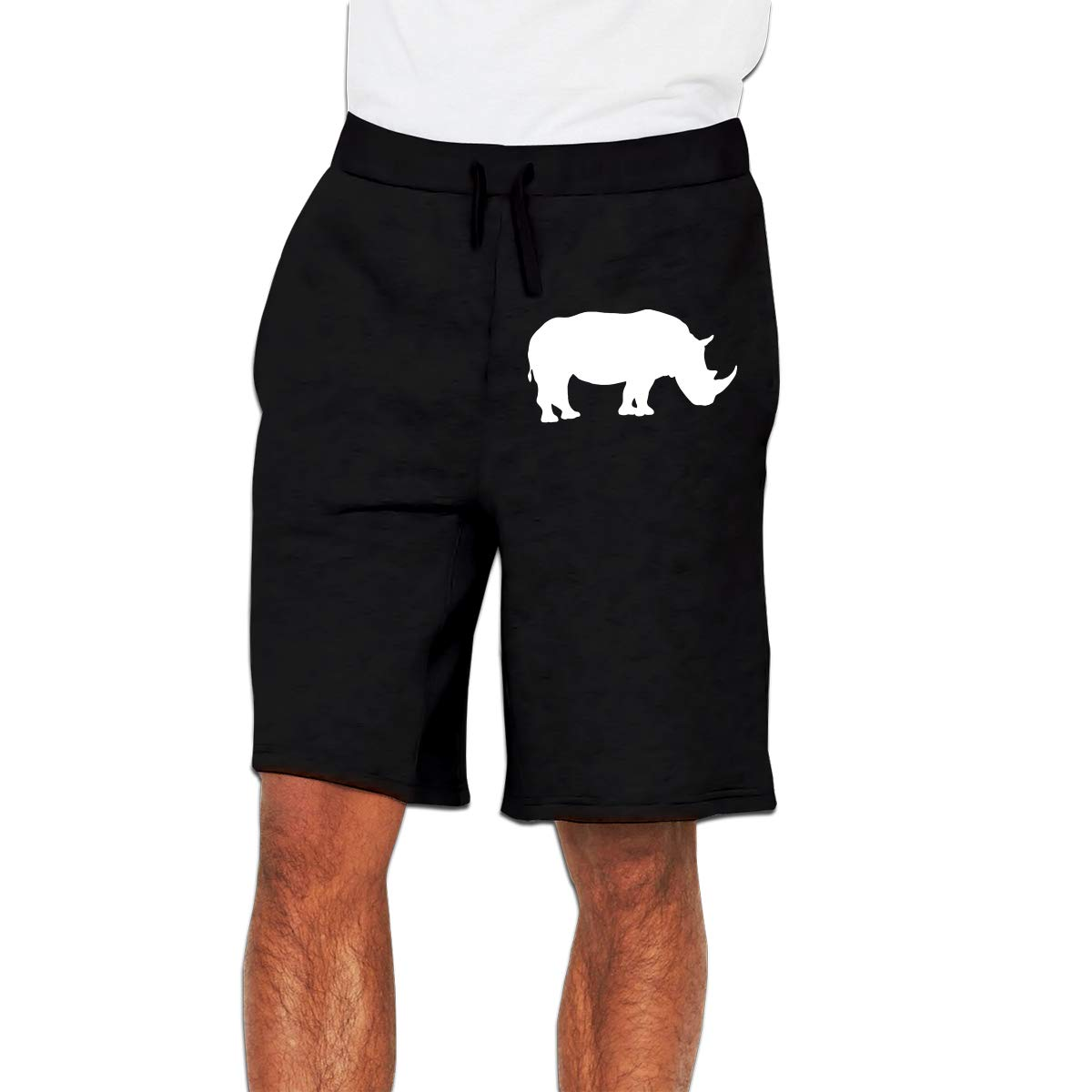 Nx55Ol@KU Mens Fashion Cute Rhino Jogger Sweatpant Training Gym Shorts