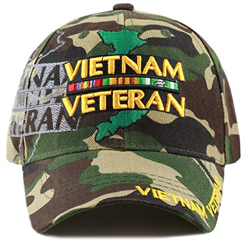 THE HAT DEPOT 1100 Official Licensed Vietnam Veteran Shadow 3D Baseball Cap (Woodland Camo Vietnam) ()