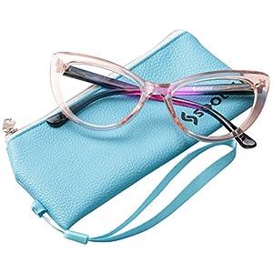 SOOLALA Womens Oversized Fashion Cat Eye Eyeglasses Frame Large Reading Glasses, Pink, +1.5D