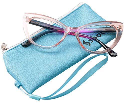 SOOLALA Womens Oversized Fashion Cat Eye Eyeglasses Frame Large Reading Glasses, Pink, +2.5D