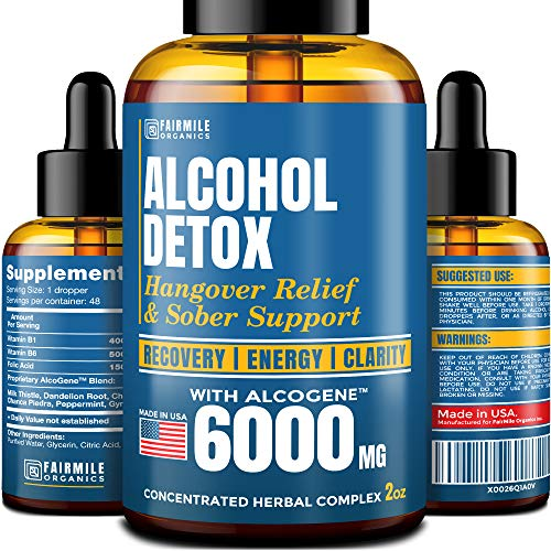 Advanced Liver Detox & Hangover Cure with AlcoGene 6000MG – Great Hangover Prevention – Made in USA – Liver Cleanse & Alcohol Detox – Liquid Formula with Better Absorption Than Hangover Pills