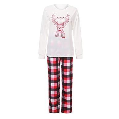 5b7a9ec37cb6b DODUMI Homme Femme Enfant Fille GarçOn BéBé Pyjama Santa Deer Tops Blouse  Pants Ensemble De NoëL