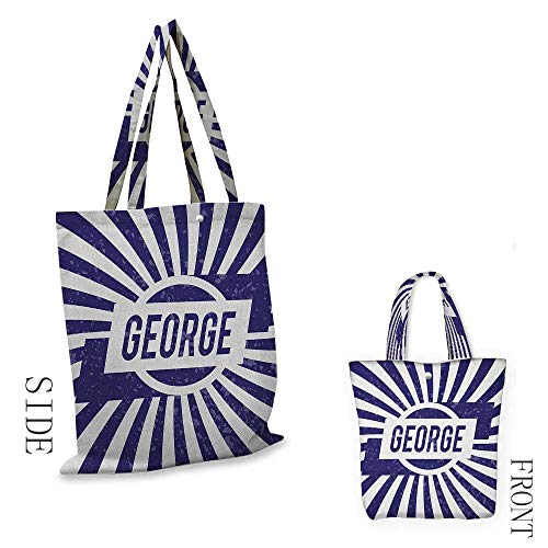 """George,canvas shopping bags with handles washable,Widespread Old English Given Name on Radial Backdrop with Abraded Look,shopping bags reusable foldable,W14""""x H16"""" Navy Blue and White"""