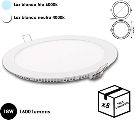 Downlight LED 18W {Pack 5} aro Blanco - Luz Blanca fría o Blanca ...