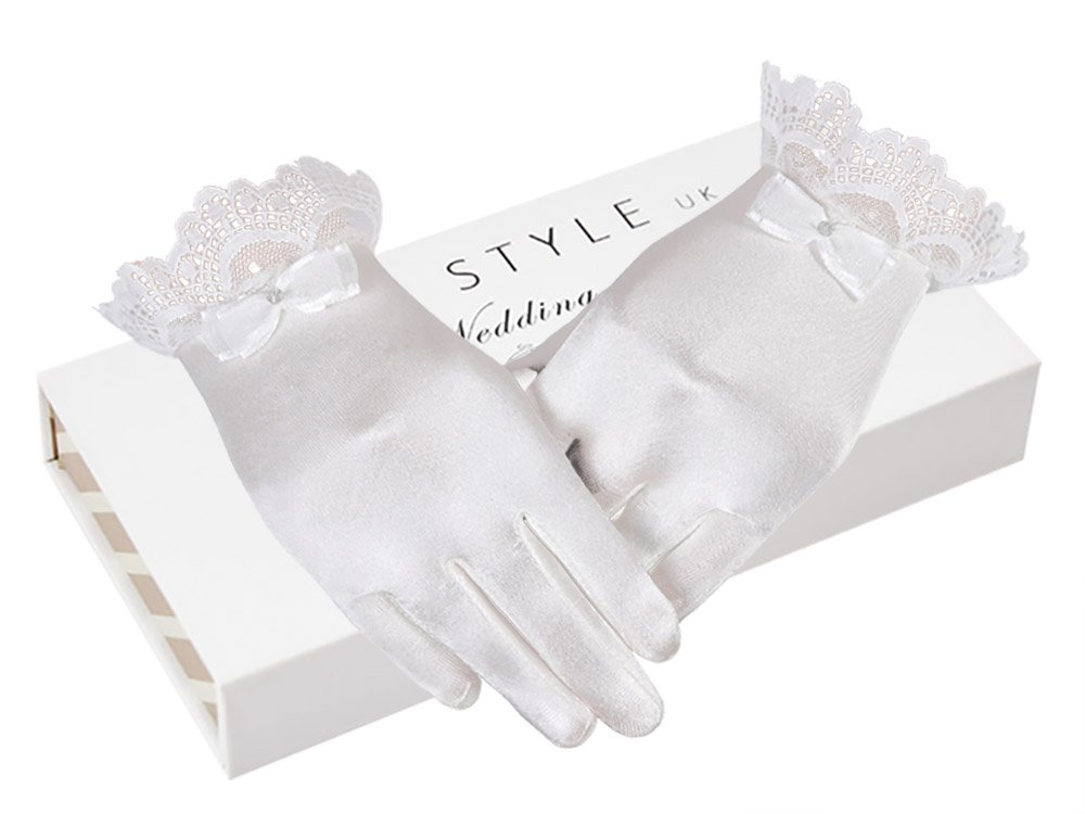 AISLE STYLE First Communion Girls Satin Gloves Tea Party Dress Up Large Age8-12