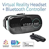 Utopia 360° Virtual Reality Headset with Controller | 3D VR Headset for VR Games, 3D Movies, and VR Apps – Compatible with iPhone and Android Smartphones