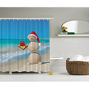 Holiday Christmas Sand Snowman on Beach Digital Art Shower Curtain
