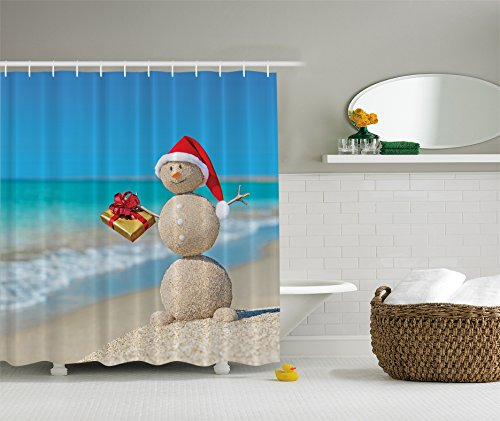 Bathroom Sand (Holiday Christmas Sand Snowman on Beach Digital Art Shower Curtain)