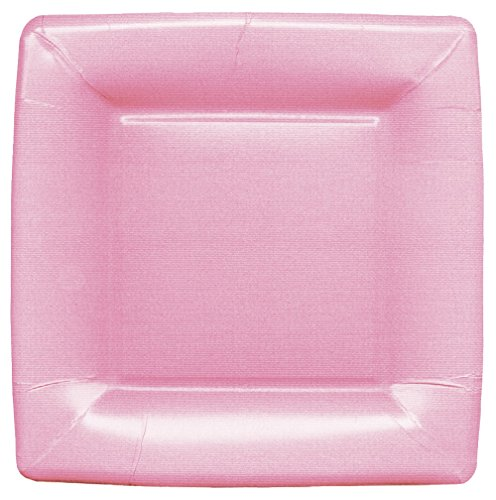 Entertaining with Caspari Grosgrain Square Salad/Dessert Plates (8 Pack), Light Pink