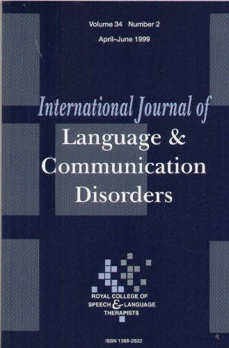 International Journal of Language & Communication Disorders (Volume 34, Number 2) (International Journal Of Language And Communication Disorders)