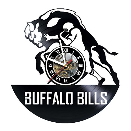Price comparison product image Vikarthouse Buffalo Bills - Handmade Vinyl Record Wall CLock - Get unique gifts presents for birthday,  Christmas,  ideas for boys,  girls,  men,  women,  adults,  him and her - Sport Unique Design