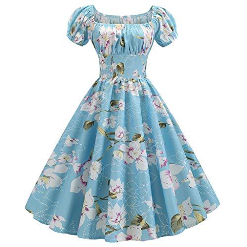 - Women Vintage Dresses Off Shoulder Cap Sleeve Empire Waist Elegant Floral Cocktail Tea Dress (L,Sky Blue)