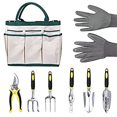7 Pieces Garden Tool Set,Garden Accessories Kit Includes 6 Hand Tools with Storage Tote and Work Gloves