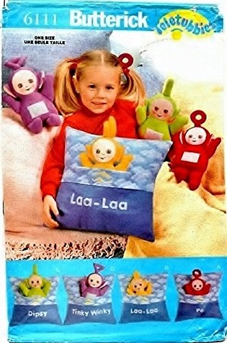 OOP Butterick Crafts Pattern 6111. Teletubbies. Mini Dolls & Pillows with Iron-on Transfers. Dipsy, Tinky Winky, Laa-Laa, Po