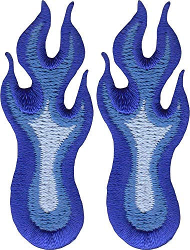Blue Flames - Cut Out Embroidered Iron On or Sew On Patches - Two Patches Total