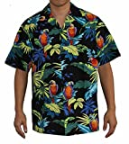 RJC Top Quality Tropical Parrot Hawaiian Aloha Shirt, XL, Black