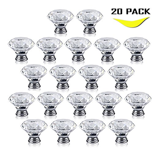 Geekercity Drawer Pull Knobs - 30mm Glass Clear Diamond Cabinet Drawer Pull Handle Knob Kitchen Door Wardrobe Used for Cabinet Drawer Chest Bin Dresser Cupboard Etc (20 PACK)