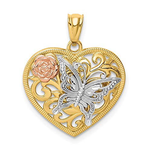 (Jewel Tie 14K Tri Color Butterfly Heart Pendant - (0.89 in x 0.71 in))