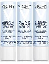 Vichy Aqualia Thermal Soothing Repairing Lip Balm, 0.15 Fl. Oz. (Pack of 3)