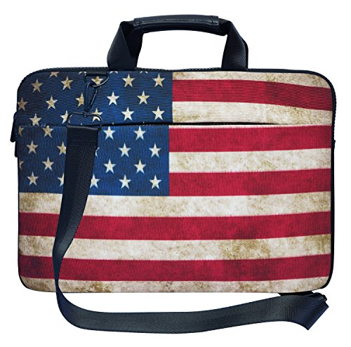 Meffort Inc 17 17.3 inch Canvas Laptop Shoulder & Hand Carrying Bag Case with Side Protection - American Flag (Bag American Flag)