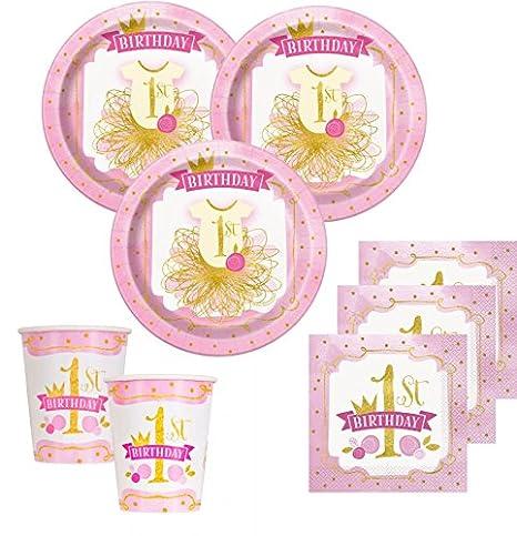 KPW 48 Piezas Primer Cumpleaños Rosa y Oro Party Decoración ...
