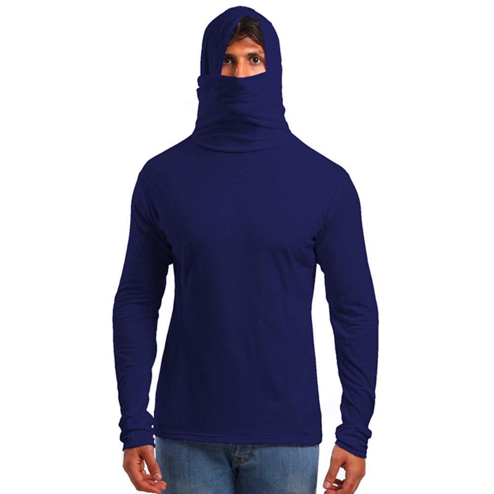 GREFER Men's Hoodie Slim Fit Soft Turtleneck Long Sleeve Pullover T-Shirt Navy by GREFER