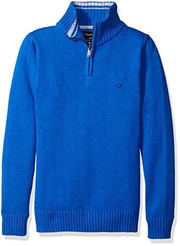 Calvin Klein Big Boys' Scalar Half Zip Sweater, Medium Blue, Large (Half Zip Sweater Blue)