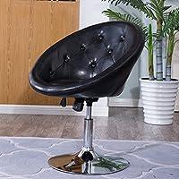Belleze Round Tufted Back Tilt Adjustable Swivel Accent Chair Hydraulic Lift Chrome Base, Black