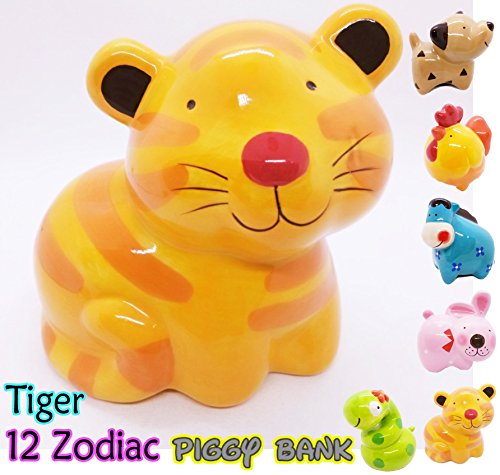 Piggy Bank Ceramic 12 Zodiac Handmade Paint Coat Decor Collect coin Quality Cute (Tiger)