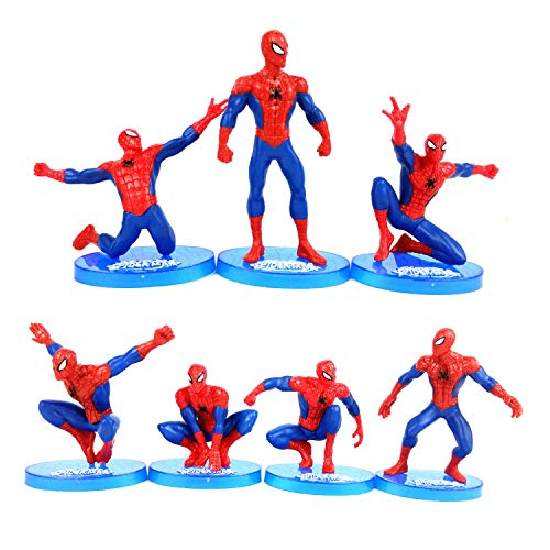 MEET Marvel Superhero Spider-Man Figures 7 Piece Set,Birthday Present and Cake top Decoration