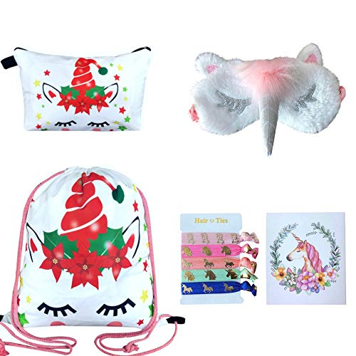 Price comparison product image Unicorn Gifts for Girls - Unicorn Drawstring Backpack / Makeup Bag / Eye Mask / Hair Ties / Card (White Christmas Unicorn 2)